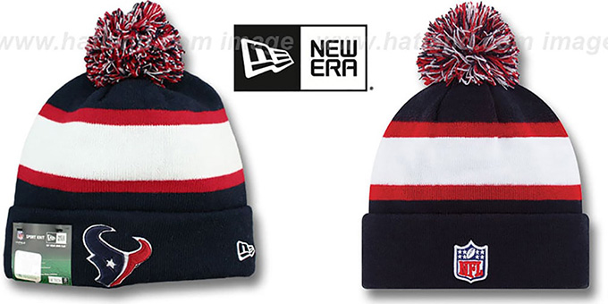 Texans 'STADIUM' Knit Beanie Hat by New Era : pictured without stickers that these products are shipped with