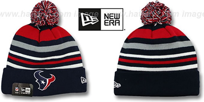 Texans 'STRIPEOUT' Knit Beanie Hat by New Era : pictured without stickers that these products are shipped with