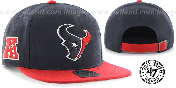 Texans 'SUPER-SHOT STRAPBACK' Navy-Red Hat by Twins 47 Brand : pictured without stickers that these products are shipped with