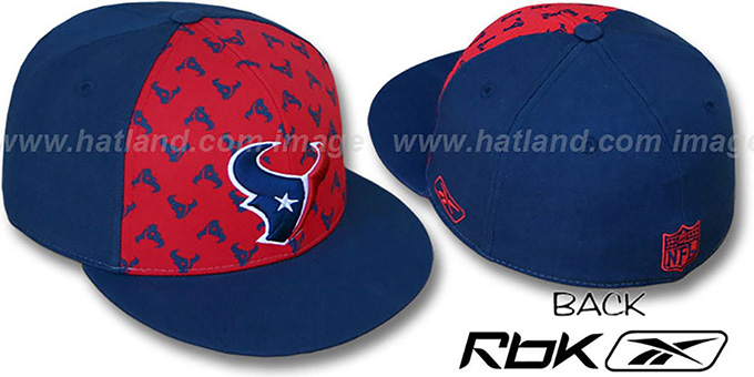 Texans 'TEAM-PRINT PINWHEEL' Red-Navy Fitted Hat by Reebok : pictured without stickers that these products are shipped with