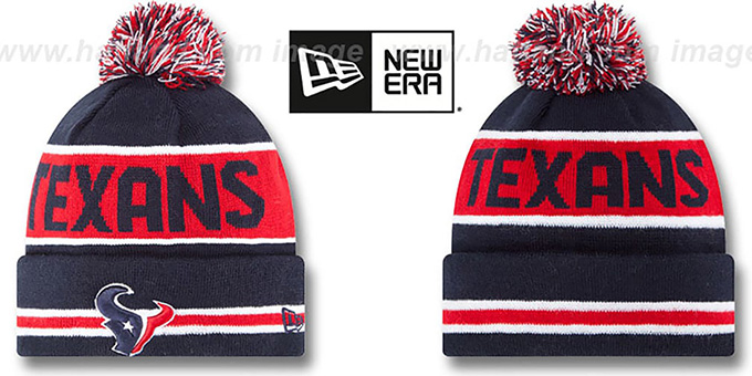Texans 'THE-COACH' Navy Knit Beanie Hat by New Era : pictured without stickers that these products are shipped with