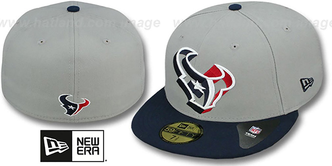 Texans 'TRACE-POP' Grey-Navy Fitted Hat by New Era : pictured without stickers that these products are shipped with