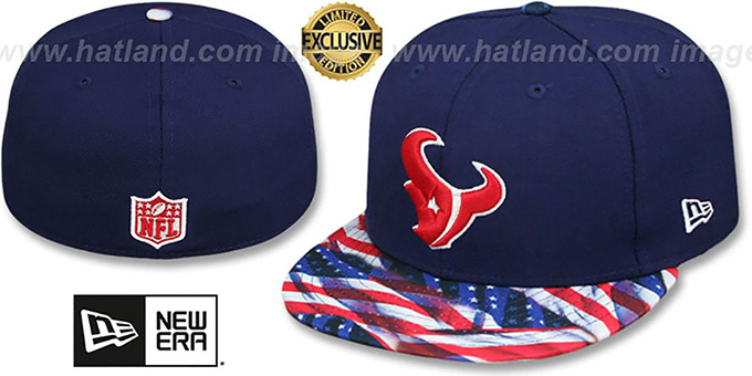 Texans 'USA WAVING-FLAG' Navy Fitted Hat by New Era : pictured without stickers that these products are shipped with