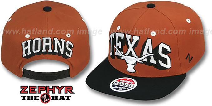Texas '2T BLOCKBUSTER SNAPBACK' Burnt Orange-Black Hat by Zephyr : pictured without stickers that these products are shipped with