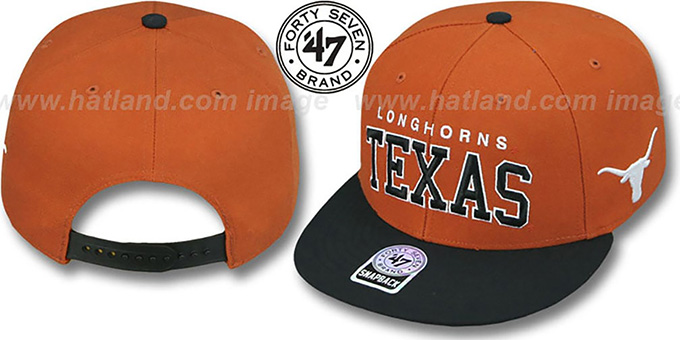 Texas '2T BLOCKSHED SNAPBACK' Adjustable Hat by Twins 47 Brand : pictured without stickers that these products are shipped with