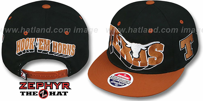 Texas '2T FLASHBACK SNAPBACK' Black-Burnt Orange Hat by Zephyr : pictured without stickers that these products are shipped with