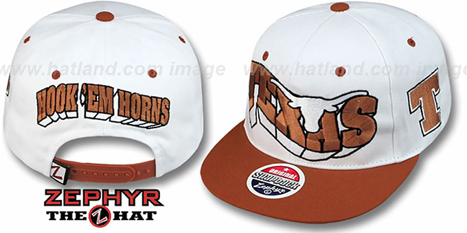 Texas '2T FLASHBACK SNAPBACK' White-Burnt Orange Hat by Zephyr : pictured without stickers that these products are shipped with