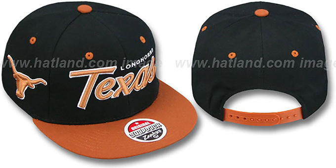 Texas '2T HEADLINER SNAPBACK' Black-Orange Hat by Zephyr : pictured without stickers that these products are shipped with