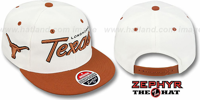Texas '2T HEADLINER SNAPBACK' White-Orange Hat by Zephyr : pictured without stickers that these products are shipped with
