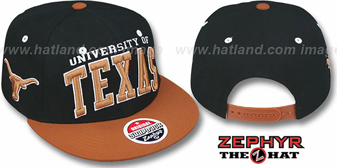 Texas '2T SUPER-ARCH SNAPBACK' Black-Burnt Orange Hat by Zephyr : pictured without stickers that these products are shipped with