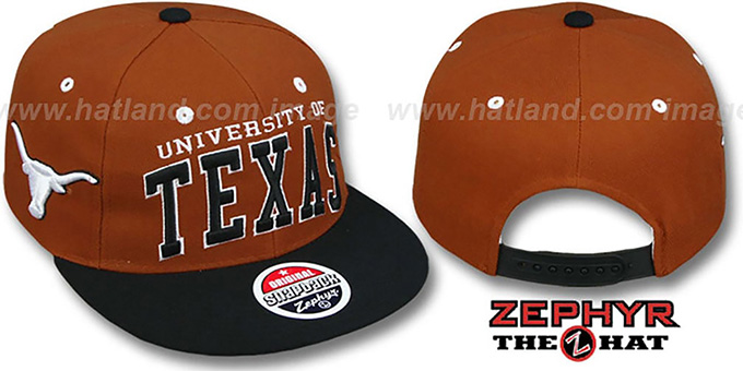 Texas '2T SUPER-ARCH SNAPBACK' Burnt Orange-Black Hat by Zephyr : pictured without stickers that these products are shipped with
