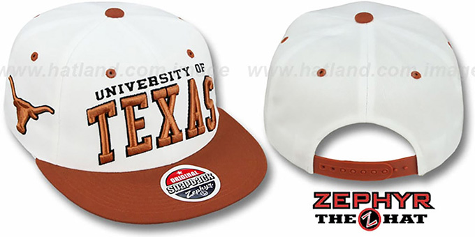 Texas '2T SUPER-ARCH SNAPBACK' White-Burnt Orange Hat by Zephyr : pictured without stickers that these products are shipped with