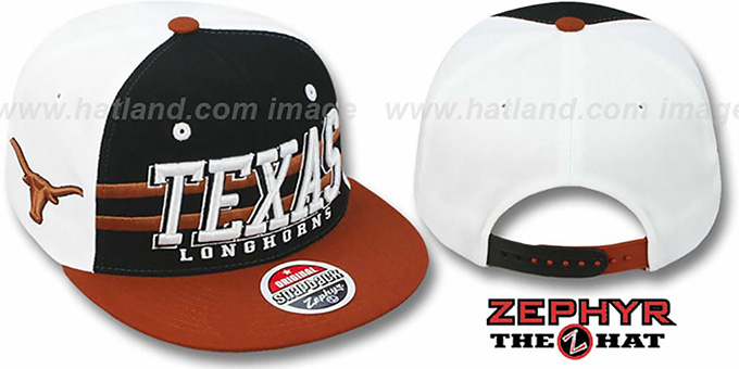 Texas '2T SUPERSONIC SNAPBACK' Black-Orange Hat by Zephyr : pictured without stickers that these products are shipped with