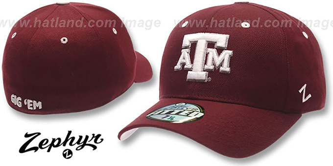 Texas A and M 'DH' Fitted Hat by Zephyr - maroon : pictured without stickers that these products are shipped with