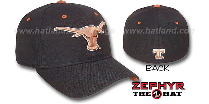 Texas 'DHS' Black Fitted Hat by Zephyr : pictured without stickers that these products are shipped with