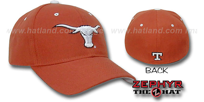 Texas 'DHS' Fitted Hat by Zephyr - burnt orange : pictured without stickers that these products are shipped with