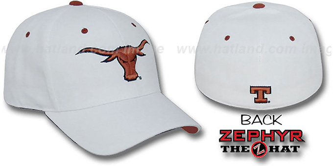 Texas 'DHS' Fitted Hat by Zephyr - white : pictured without stickers that these products are shipped with