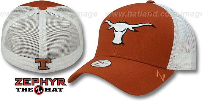 Texas 'DHS-MESH' Rust-White Fitted Hat by Zephyr : pictured without stickers that these products are shipped with