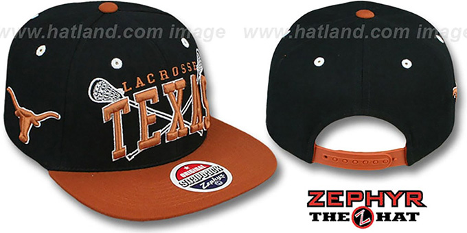 Texas 'LACROSSE SUPER-ARCH SNAPBACK' Black-Burnt Orange Hat by Zephyr : pictured without stickers that these products are shipped with