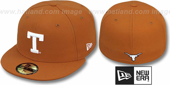 Texas 'NCAA-BASIC' Burnt Orange Fitted Hat by New Era : pictured without stickers that these products are shipped with