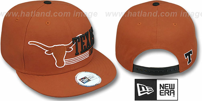 Texas 'RETRO-SNAPBACK' Burnt Orange Hat by New Era : pictured without stickers that these products are shipped with