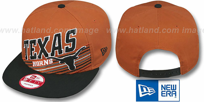 Texas 'STILL ANGLIN SNAPBACK' Burnt Orange-Black Hat by New Era : pictured without stickers that these products are shipped with