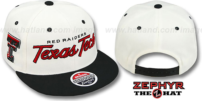 Texas Tech '2T HEADLINER SNAPBACK' White-Black Hat by Zephyr : pictured without stickers that these products are shipped with