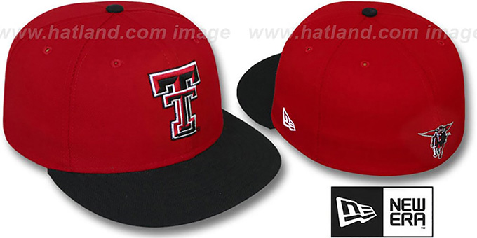 Texas Tech '2T NCAA-BASIC' Red-Black Fitted Hat by New Era : pictured without stickers that these products are shipped with
