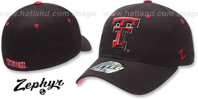 Texas Tech 'DH' Fitted Hat by ZEPHYR - black : pictured without stickers that these products are shipped with