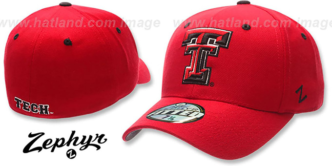 Texas Tech 'DH' Fitted Hat by ZEPHYR - red : pictured without stickers that these products are shipped with