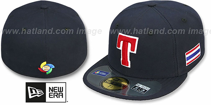 Thailand 'PERFORMANCE WBC' Navy Hat by New Era : pictured without stickers that these products are shipped with