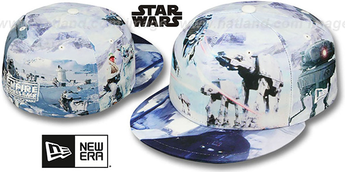 The Empire Strikes Back 'ALL-OVER BATTLE' Fitted Hat by New Era : pictured without stickers that these products are shipped with
