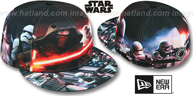 The Force Awakens 'ALL-OVER BATTLE' Fitted Hat by New Era : pictured without stickers that these products are shipped with