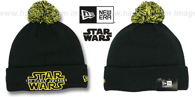 The Force Awakens 'POM-CUFFER' Black Knit Beanie Hat by New Era : pictured without stickers that these products are shipped with