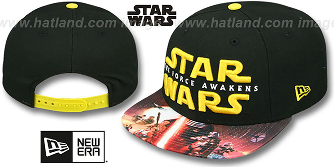 The Force Awakens 'VIZA-PRINT SNAPBACK' Black Hat by New Era : pictured without stickers that these products are shipped with