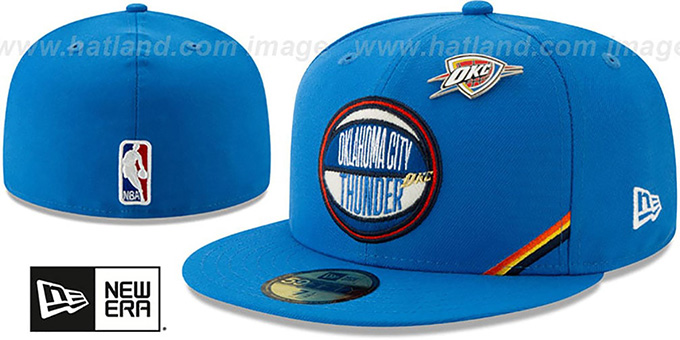 best service 49e19 3284d Thunder  2019 NBA DRAFT  Blue Fitted Hat by ...