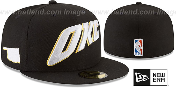 Thunder 'CITY-SERIES' Black Fitted Hat by New Era : pictured without stickers that these products are shipped with