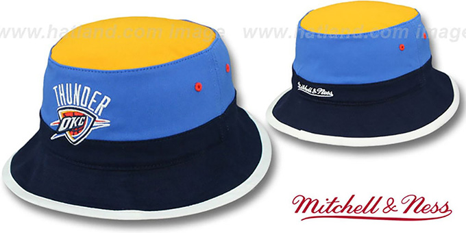 Oklama City Thunder COLOR-BLOCK BUCKET Gold-Blue-Navy Hat by Mitchell and  Ness