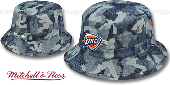 Thunder 'DENIM-CAMO BUCKET' Blue Hat by Mitchell and Ness : pictured without stickers that these products are shipped with
