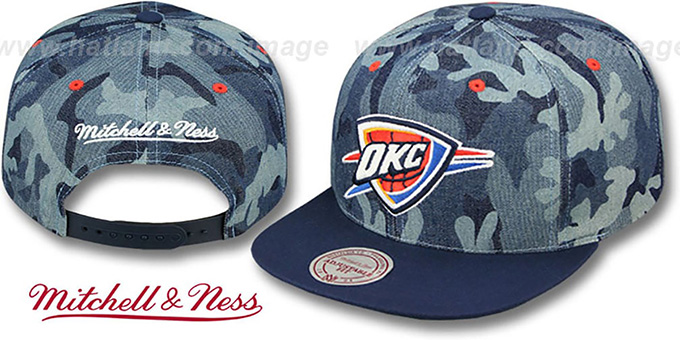 Thunder 'DENIM-CAMO SNAPBACK' Blue Hat by Mitchell and Ness : pictured without stickers that these products are shipped with