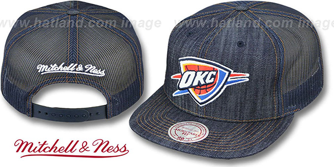 1e745bc68b2 Thunder  DENIM-MESHBACK SNAPBACK  Navy Adjustable Hat by Mitchell and Ness