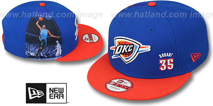 Thunder DURANT 'PLAYER-TWIST SNAPBACK' Royal-Orange Hat by New Era : pictured without stickers that these products are shipped with