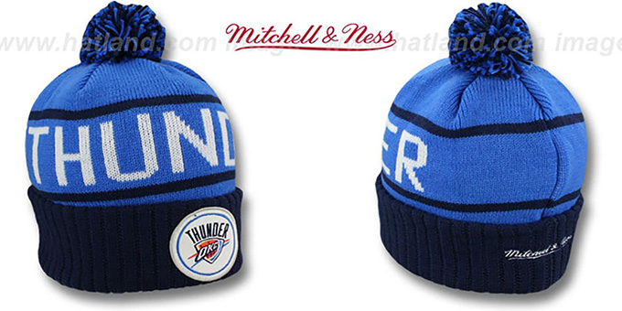 Thunder 'HIGH-5 CIRCLE BEANIE' Blue-Navy by Mitchell and Ness : pictured without stickers that these products are shipped with