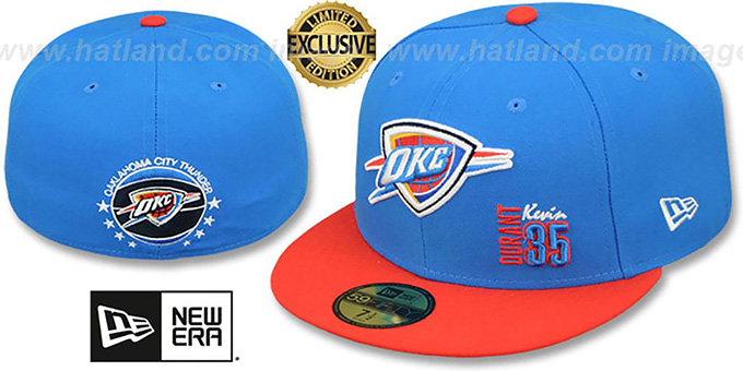 Thunder 'KEVIN DURANT 35' Blue-Orange Fitted Hat by New Era : pictured without stickers that these products are shipped with