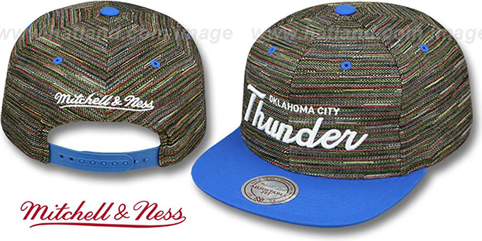 Thunder 'KNIT-WEAVE SNAPBACK' Multi-Blue Hat by Mitchell and Ness : pictured without stickers that these products are shipped with
