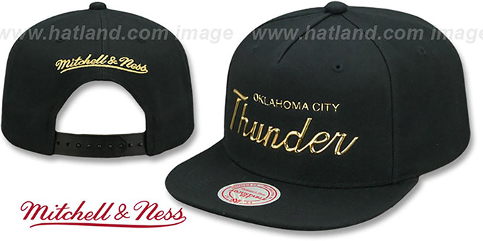 quality design be322 3447f Thunder  LIQUID METALLIC SCRIPT SNAPBACK  Black-Gold Hat by Mitchell ...