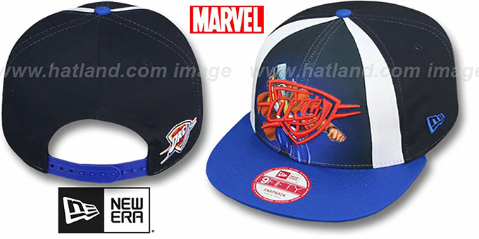 Thunder 'MARVEL RETRO-SLICE SNAPBACK' Navy-Royal Hat by New Era : pictured without stickers that these products are shipped with