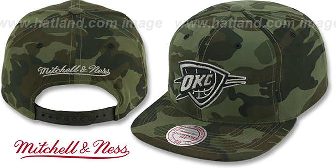 Thunder 'METAL-CAMO SNAPBACK' Hat by Mitchell & Ness : pictured without stickers that these products are shipped with