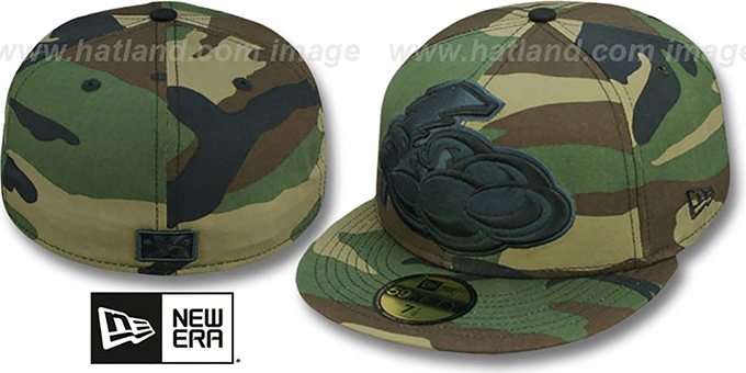 Thunder 'MIGHTY-XL' Army Camo Fitted Hat by New Era : pictured without stickers that these products are shipped with