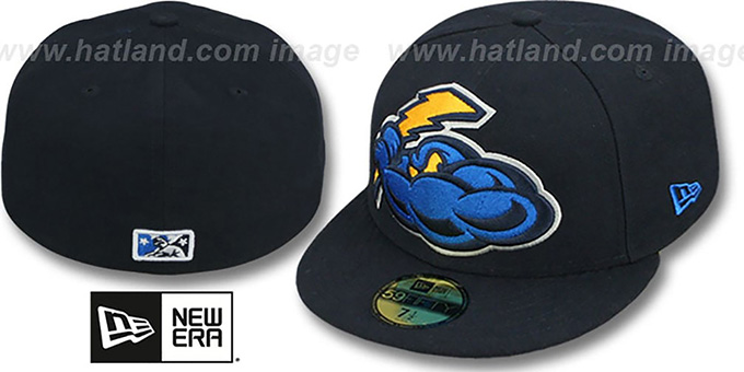 Thunder 'MIGHTY-XL' Navy Fitted Hat by New Era : pictured without stickers that these products are shipped with